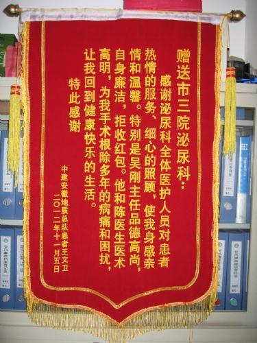 患者赠泌尿科吴刚 陈冬医生及全体医护人员的锦旗
